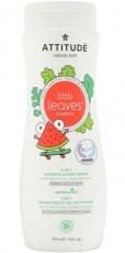 Sampon si gel de dus pentru copii, pepene si cocos, 473ml - ATTITUDE Little Leaves
