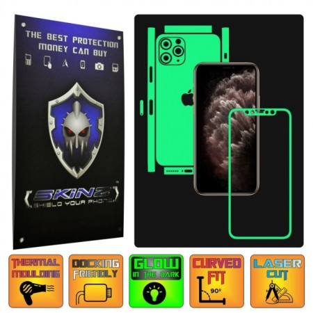 Apple iPhone 11 Pro Max - CAM CUT - GLOW SKINZ - SPLIT CUT, Folie Protectie Fosforescenta Full Body Cover, Skin Adeziv pentru Telefon (Rama Ecran,Carcasa Spate,Laterale),Full Glue