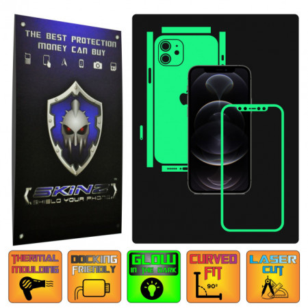 Apple iPhone 12 - GLOW SKINZ - SPLIT CUT, Folie Protectie Fosforescenta Full Body Cover, Skin Adeziv pentru Telefon (Rama Ecran,Carcasa Spate,Laterale),Full Glue