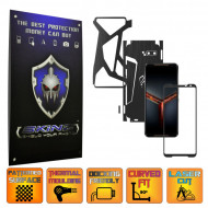 Asus ROG Phone 2 II - Folie Protectie Full Body CARBON SKINZ, Skin Adeziv BRUSHED NEGRU 360° CUT