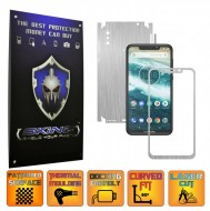 Motorola One Power (P30 Note) - BRUSHED ARGINTIU 360° CUT, Folie Protectie CARBON SKINZ Full Body Cover, Skin Adeziv pentru Telefon (Rama Ecran,Carcasa Spate,Laterale),Full Glue