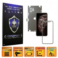Apple iPhone 11 Pro - FULL CUT - CARBON GRI TITAN 360° CUT, Folie Protectie CARBON SKINZ Full Body Cover, Skin Adeziv pentru Telefon (Rama Ecran,Carcasa Spate,Laterale),Full Glue