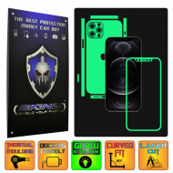 Apple iPhone 12 Pro Max - GLOW SKINZ - SPLIT CUT, Folie Protectie Fosforescenta Full Body Cover, Skin Adeziv pentru Telefon (Rama Ecran,Carcasa Spate,Laterale),Full Glue