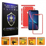 Apple iPhone XR - CARBON ROSU - SPLIT CUT, Folie Protectie CARBON SKINZ Full Body Cover, Skin Adeziv pentru Telefon (Rama Ecran,Carcasa Spate,Laterale),Full Glue