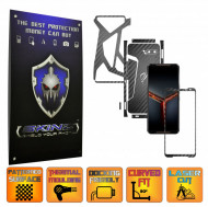 Asus ROG Phone 2 II - Folie Protectie Full Body CARBON SKINZ, Skin Adeziv CARBON NEGRU - SPLIT CUT