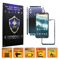 Motorola One Power (P30 Note) - CARBON CAMELEON - SPLIT CUT, Folie Protectie CARBON SKINZ Full Body Cover, Skin Adeziv pentru Telefon (Rama Ecran,Carcasa Spate,Laterale),Full Glue