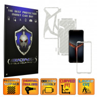 Asus ROG Phone 2 II - Folie Protectie Full Body CARBON SKINZ, Skin Adeziv CARBON ALB - SPLIT CUT