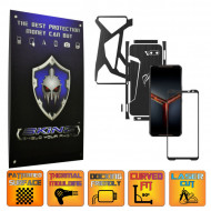 Asus ROG Phone 2 II - Folie Protectie Full Body CARBON SKINZ, Skin Adeziv BRUSHED NEGRU - SPLIT CUT
