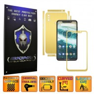 Motorola One Power (P30 Note) - BRUSHED AURIU - SPLIT CUT, Folie Protectie CARBON SKINZ Full Body Cover, Skin Adeziv pentru Telefon (Rama Ecran,Carcasa Spate,Laterale),Full Glue