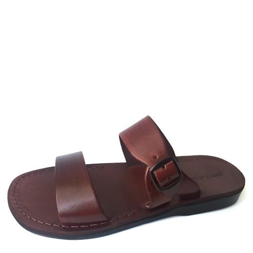 Papuci din piele maro reglabili unisex