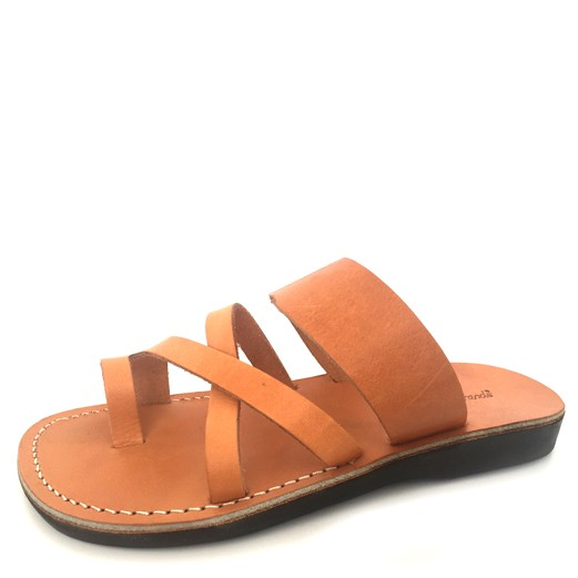 Papuci din piele deget camel