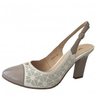 Pantofi din piele dama Deska alb mix