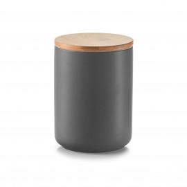 Doza ceramica cu capac din bambus,650 ml