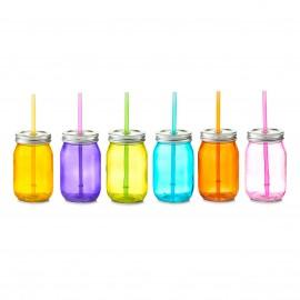 Recipient sticla colorata cu capac + pai 450 ml