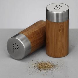 Set recipiente sare si piper - bambus si inox Ø4x8,3,Zeller