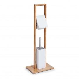 Suport hartie igienica+suport perie bambus/MDF alb
