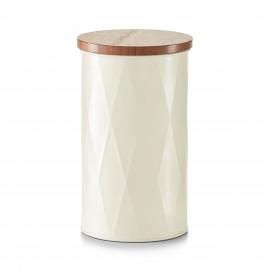 Doza din metal crem,cu capac din bambus,1600 ml