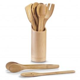Ustensile de bucatarie + suport 7/set bambus