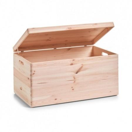 Cutie maro cu capac pentru depozitare,din lemn de pin,40 x 60 cm