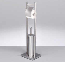 Perie wc si suport hartie inox 22x18x76cm