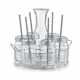 Set 8 piese,carafa + 6 pahare sticla +suport metalic