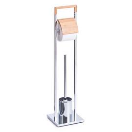 Perie wc cu suport hartie bambus & metal cromat 18,5x18,5x75cm