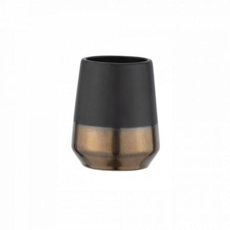 Suport negru/aramiu din ceramica pentru periuta de dinti,8 x 10 cm,WENKO