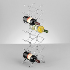 Suport sticle vin - metal cromat 21,5x15,5x67,5cm