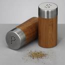 Set recipiente sare si piper - bambus si inox Ø4x8,3