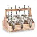 Suport lemn cu 6 pahare cu pai