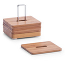 Coaster pahare bambus si metal cromat - set 7 piese