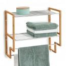 Raft baie pentru prosoape bambus/metal