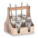 Suport lemn cu 4 pahare cu pai