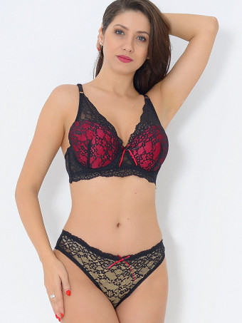 Compleu Sutien Cupa C si Chilot Normal H8789 BlacK-Red