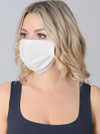Set 10 Bucati de Masca Faciala Bumbac Alb