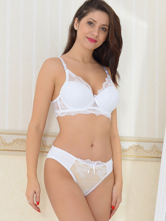 Compleu Sutien Cupa B si Chilot Normal H7129 White