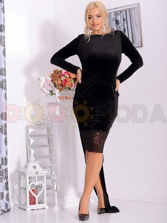 Rochie Lunga din Catifea Agress Black