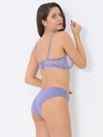 Compleu Sutien Cupa C si Chilot Normal H8796 Purple