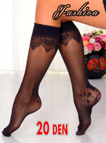 Sosete 3/4 Fashion Flowers 20 DEN Black