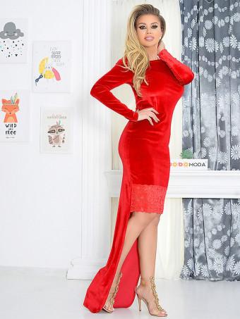 Rochie Lunga din Catifea Agress Red