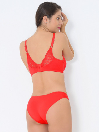 Compleu Sutien Cupa D si Chilot Normal H8776 Red