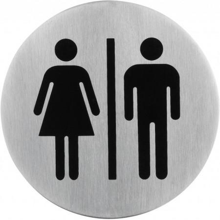 Poze Semn indicator toaleta mixta (din inox),  Ø 7.5 cm
