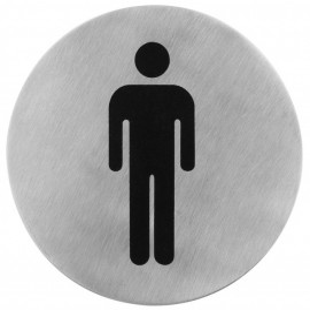 Semn indicator toaleta barbati (din inox),  Ø 7.5 cm