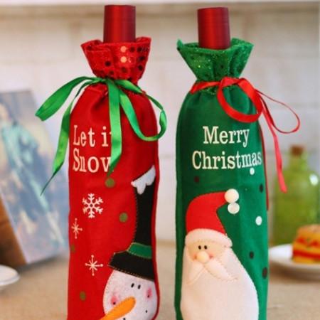Set 2 huse pentru sticla de vin cu decoratii Craciun