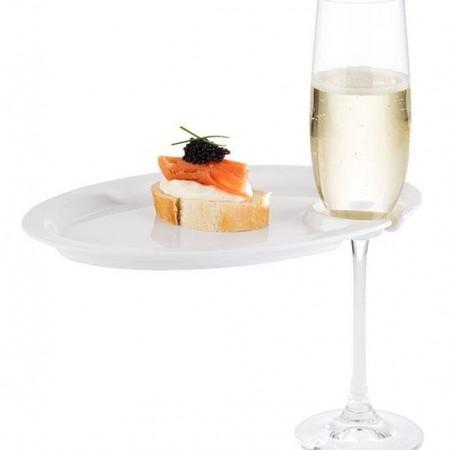 Farfurie melamina cu suport pentru pahar sampanie, pentru cocktail party