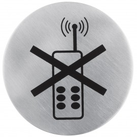 Poze Semn indicator pentru interzicere utilizare telefoane mobile (din inox),  Ø 7.5 cm