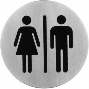 Semn indicator toaleta mixta (din inox),  Ø 7.5 cm