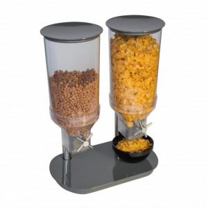 Dispenser cereale dublu, 2x4.5 litri, culoare gri lucios