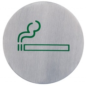 Semn indicator loc pentru fumat/fumatori (din inox),  Ø 7.5 cm