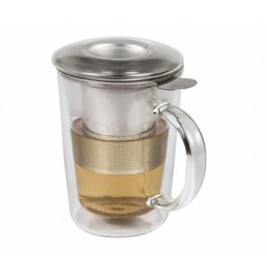 Cana din sticla cu perete dublu 360 ml cu sita ceai si capac sticla